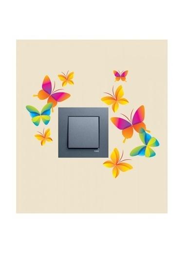 Disney Kelebekler-2 Priz Sticker Renkli